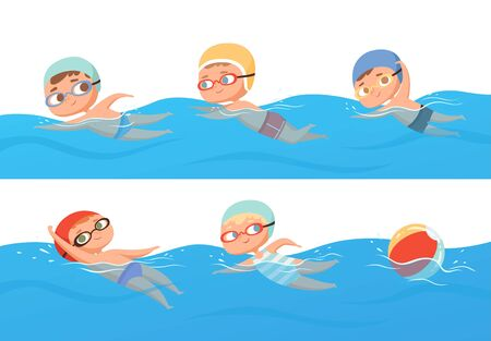 Kids swimming. Happy children water sport in pool summer swimming classes vector collection set. Happy boy abd girl in pool, people swimmer illustration