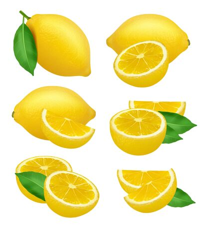 Lemons realistic. Fruits slices citrus natural products yellow vector natural food lime. Illustration lemon fruit and citrus tropical vitamin C