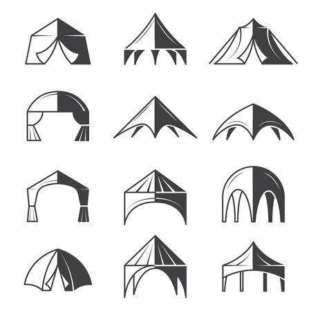Tent silhouettes. Outdoor party event buildings pavilion marquee vector tent collection. Pavilion canvas, marquee collection wedding illustration