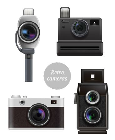 Retro cameras. Vintage electronic professional photo and video technics vector realistic pictures set. Camera photo, old technology photography, equipment lens illustration