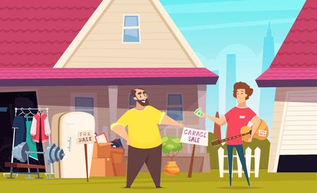 Flea market. Garage selling fashion clothes outdoor place with second hand books toys and furniture vector cartoon background. Garage selling old fashion furniture obsolete illustration