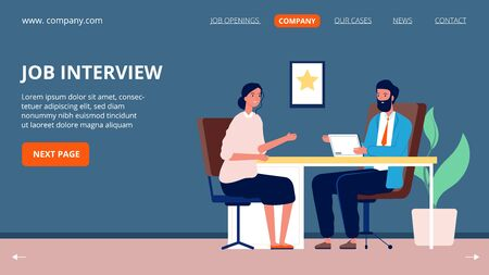 Job interview. Corporate company, jobs applicant and specialist. Head hunter, recruitment and hr agency. Woman and business man talking, hiring vector page. Interview manager, employment illustration