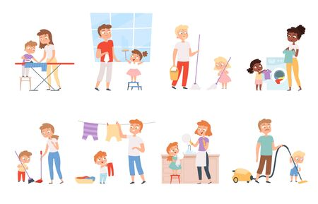 Children housework. Cleaning room washing appliance boys and girls helping parents vector cartoon people. Children helping parent, cleaning and housekeeper illustration Vettoriali