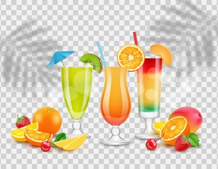 Sweet juices. Summer cocktails, fruits and berries. Isolated realistic drinks vector illustration. Sweet non-alcoholic realistic, alcohol tropical refreshment 向量圖像