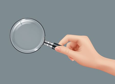 Magnifying glass in hand. Detective holding gadget zoomed loupe lens vector realistic pictures isolated. Illustration search glass magnifying, magnifier zoom