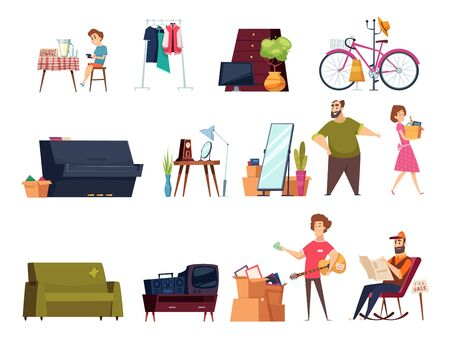 Garage selling. Flea marketplace with clothes and home vintage items many furniture old books toys vector cartoon set. Selling illustration market, piano, bicycle and old furniture