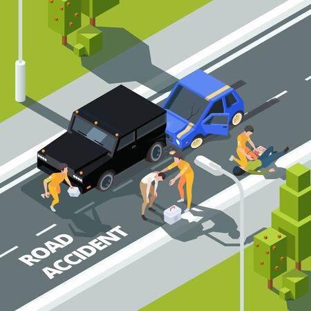 Accidence road. Paramedic first aid help to people police and medical workers vector isometric background. First aid after driving accident on road illustration