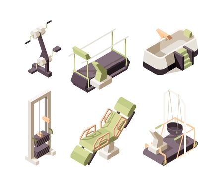 Rehabilitation center. Training equipment for disabled people medical healthy clinic assistant exercise people professional treatment vector isometric. Illustration rehabilitation, medical therapy 写真素材 - 143439074
