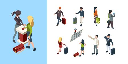 Travel people isometric. Touristic persons family couples businessman with bag 3d luggage vector characters. Travel with bag, man and woman isometric illustration Ilustrace
