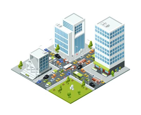 Crossroad jam traffic. Isometric urban transport active movement in jammed city vector 3d buildings busses and cars. Illustration street traffic jam, urban city road Çizim