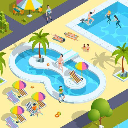Pool relax people. Traveller in resort hotel swimming enjoying kids playing in water luxury holidays vector isometric person. Sunbathing and relaxation near pool resort illustration Vektorgrafik