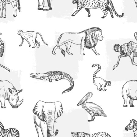 Sketch animal pattern. African, asian fauna background. Elephant and monkey, lion and crocodile vector seamless texture. Illustration elephant and lion, jungle textile animals