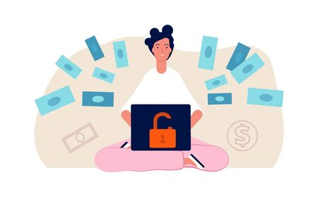 Hacker attack. Cute young girl hack bank online. Bad money safety, woman transfer money vector illustration. Hacker online attack, crime and thief