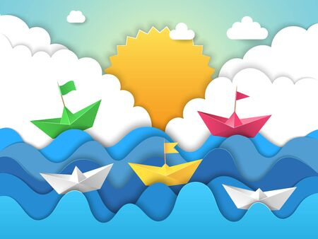 Paper boat. Origami water waves with shadows from cut paper sailing ship vector abstract stylized landscape. Origami paper boat, sea wave illustration Vettoriali
