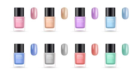 Nail polish collection. Palette for manicure. Isolated cosmetics bottles and colorful nails vector set. Collection nail beauty care, bottle cosmetic for manicure illustration