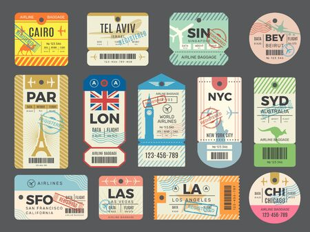 Baggage retro tags. Traveling old tickets flight labels stamps for luggage vector set. Luggage tag ticket, airplane paper baggage card illustration Vector Illustratie