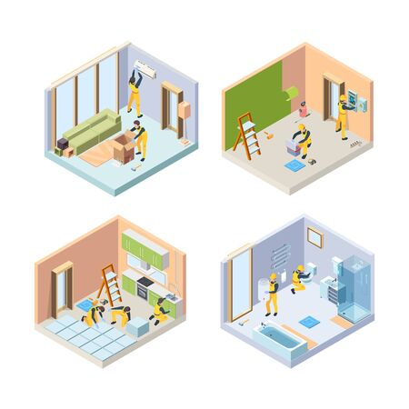 Repair isometric. Renovate floor painting walls repair bathroom house rooms vector illustrations people. Isometric remodeling and renovation, painting and tile