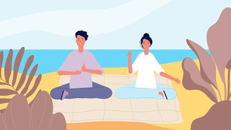 Meditation on beach. Man woman morning relax. Mind restart, summer vacation vector illustration. Position relax, female and male outdoor zen