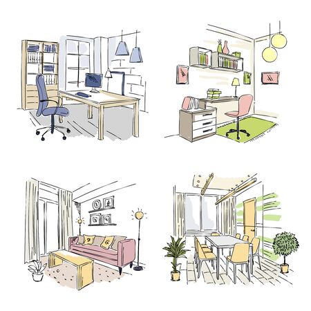 Drawn interiors. Bedroom living room offices in modern building workplace studio vector sketch. Room drawn sketch with couch for meeting illustration