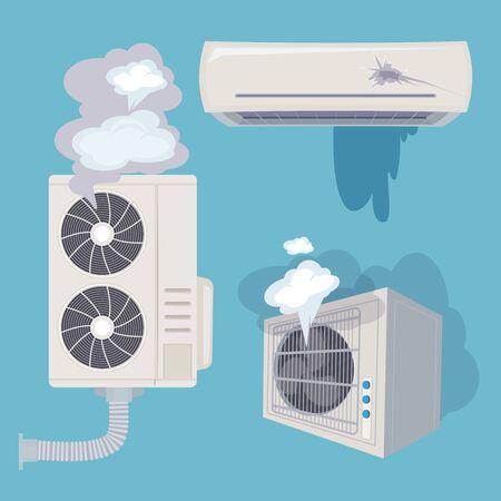 Damaged conditioner. Broken home air systems wind ventilation efficient vector. Illustration conditioner brokenr, air control conditioning defect