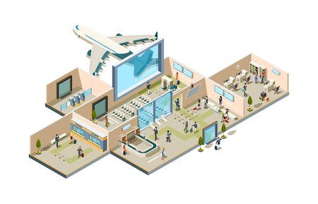 Airport terminal. Boarding gate conveyor for luggage ticketing waiting room passengers and aviation personal characters isometric. Airport terminal, baggage, and waiting room illustration