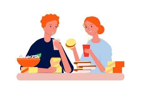 Food addiction. Man woman with junk eating. Hungry people eat burgers, hot dogs and chips vector illustration. Woman and man with junk food, bad addiction fast food