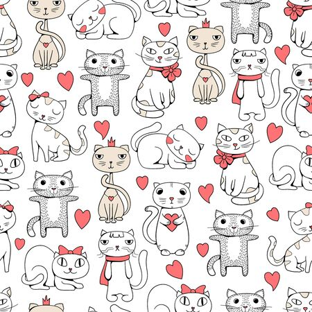 Cute cats seamless. Funny pets doodle pattern for kids textile design vector cats illustrations. Cat seamless mascot outline sketch, kitten muzzle repeat