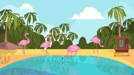 Flamingo park. Pink exotic birds on lake. Camping, beach vacation or tourism vector illustration. Flamingo bird, park paradise exotic zoo 矢量图像