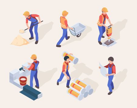 Workers isometric. Builders in uniform different construction machines and tools vector people set. Specialist craftsman, worker isometric, builder guiding illustration