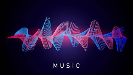 Sound wave. Music recording, audio equalizer. Technical designation of recorded voice, musical converter vector element. Sound music wave, audio recording equalizer illustration