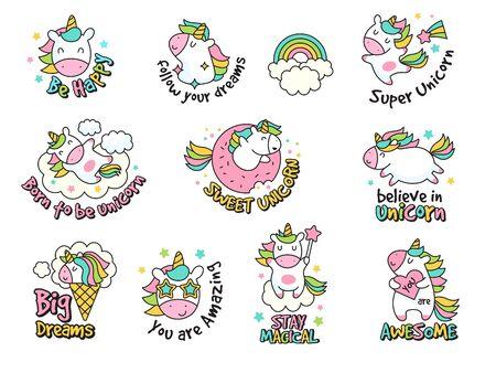 Unicorn labels collection. Retro fashioned stickers and badges with fantasy funny characters vector set. Label doodle badge unicorn sticker illustration