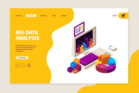Data analysis landing. Business concept with gadgets and infographic symbols charts graphs diagrams vector marketing or finance web page template. Marketing data analysis, infographic illustration