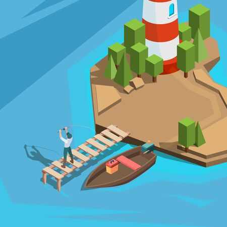 Fishing at dock. Outdoor berth fisherman in boat river or sea fishing with spinning active vacation time vector isometric background. Fisherman on lake or river, lighthouse and marina illustration