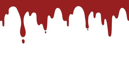 Paint dripping background. Isolated current red ink or blood vector seamless pattern. Paint liquid splash, blob leak, fluid trickle blood illustration Vetores