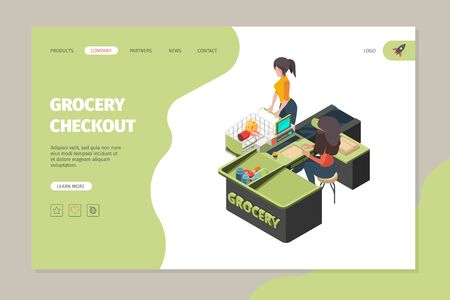 Grocery store checkout. Buyers in retail grocery shop paying cashier scanning purchase products big sales service supermarket vector isometric set. Supermarket checkout, store service illustration