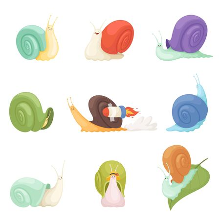 Snails cartoon. Characters funny insects animals vector symbols of slow. Illustration funny gastropod, slime animal insect, snail fast