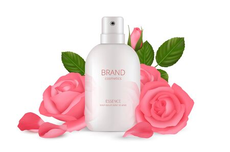 Cosmetics concept. Realistic cream bottle with roses. Isolated pink floral petals and white packaging vector mockup. Product cosmetic liquid, pink rose and bottle illustration 矢量图像