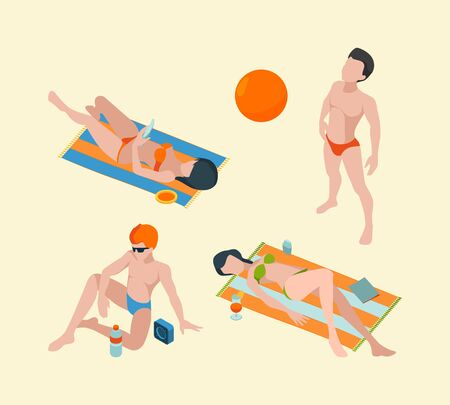 Summer people isometric. Male and female vacation characters in summer clothes vector persons collection. Male on vacation beach, bathing holiday illustration