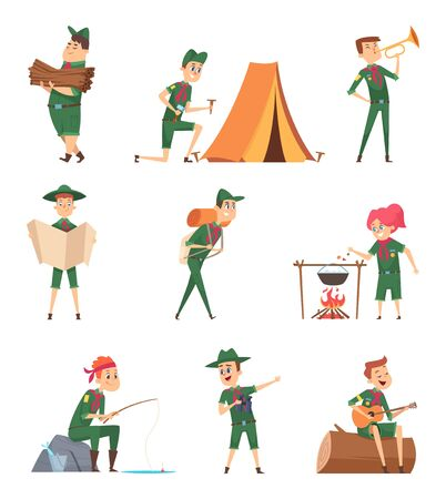 Rangers kids. Little scouts in green uniform survival characters with backpack studying vector children. Recreation child travel, adventure and play guitar illustration Vetores
