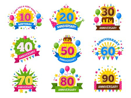 Anniversary numbers. Celebration party year celebrated number flyer for happiness cheers vector set. Happy celebration cheerful, party, anniversary badge and congratulation event illustration Vector Illustratie