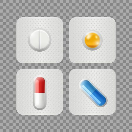 Realistic pills. Medicinal drugs in blisters isolated on transparent background. Vitamins, medical treatment or pharmaceuticals vector illustration. Medical pharmaceutical, pharmacy health