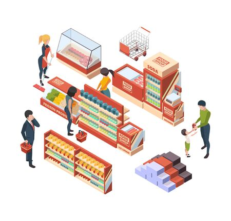 Grocery customers. Isometric people with shopping carts in retail market buying food marketplace items vector collection. Illustration retail and market, shop with purchase, buy isometric