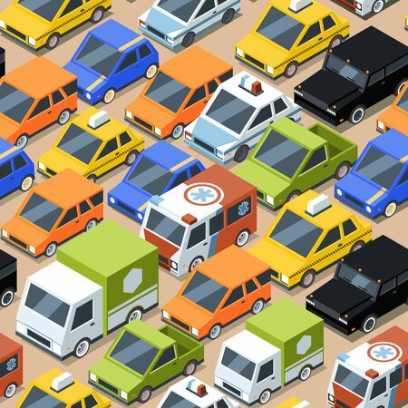 Urban traffic pattern. Jammed city transport cars buses van vector seamless background for textile design projects. Transportation traffic pattern, vehicle urban jam, automobile transport illustration Çizim