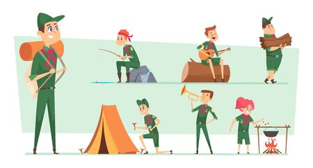 Scouts characters. Summer campers boys and girls junior rangers group survival scouts with backpacks vector kids. Boy and girl scout, bonfire and fishing illustration