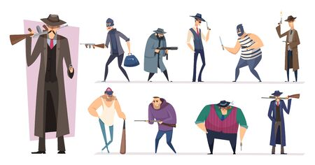 Mafia characters. Masked threat gangster brutal bandit with guns vector persons isolated. Killer and mafia gang, bandit and mobster, gangster brutal illustration