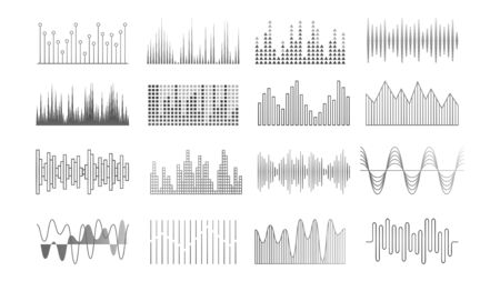 Music waves. Audio recorder, equalizer or pulse technology elements. Sound player panel, voice signal vector set. Sound frequency, radio equalizer beat illustration
