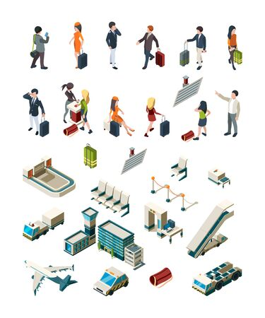 Airport terminal. People pilots flight attendants travellers airport interior luggage boarding ticketing vector isometric. Airport flight, travel aircraft and aviation, pilot stewardess illustration