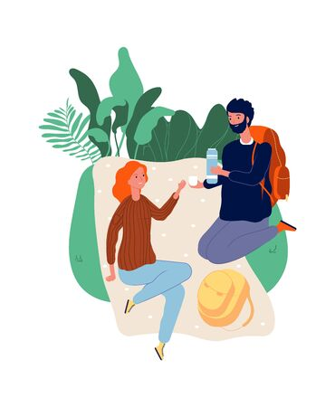 Tourists at stop. Man woman on picnic. Male with backpack, female drinking. Hiking, vacation time vector illustration. Woman tourist and man on halt Vettoriali