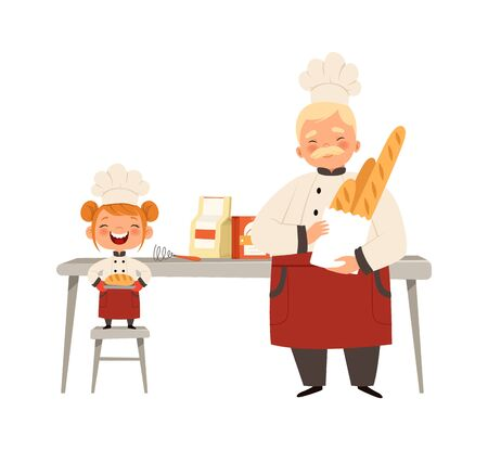 Baking workshop. Smiling girl and chef in uniform cooking fresh bread. Happy time with grandfather vector illustration. Chef cooking and smiling girl with bread