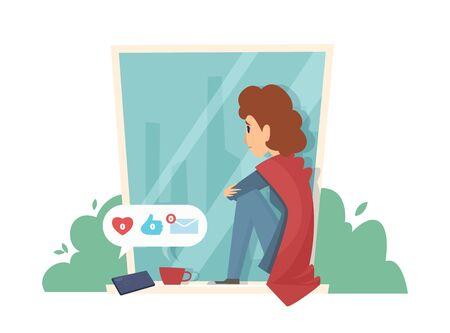Sad woman on windowsill. Social media addiction, no messages. Depressive girl vector illustration. Woman social media, problem and depression